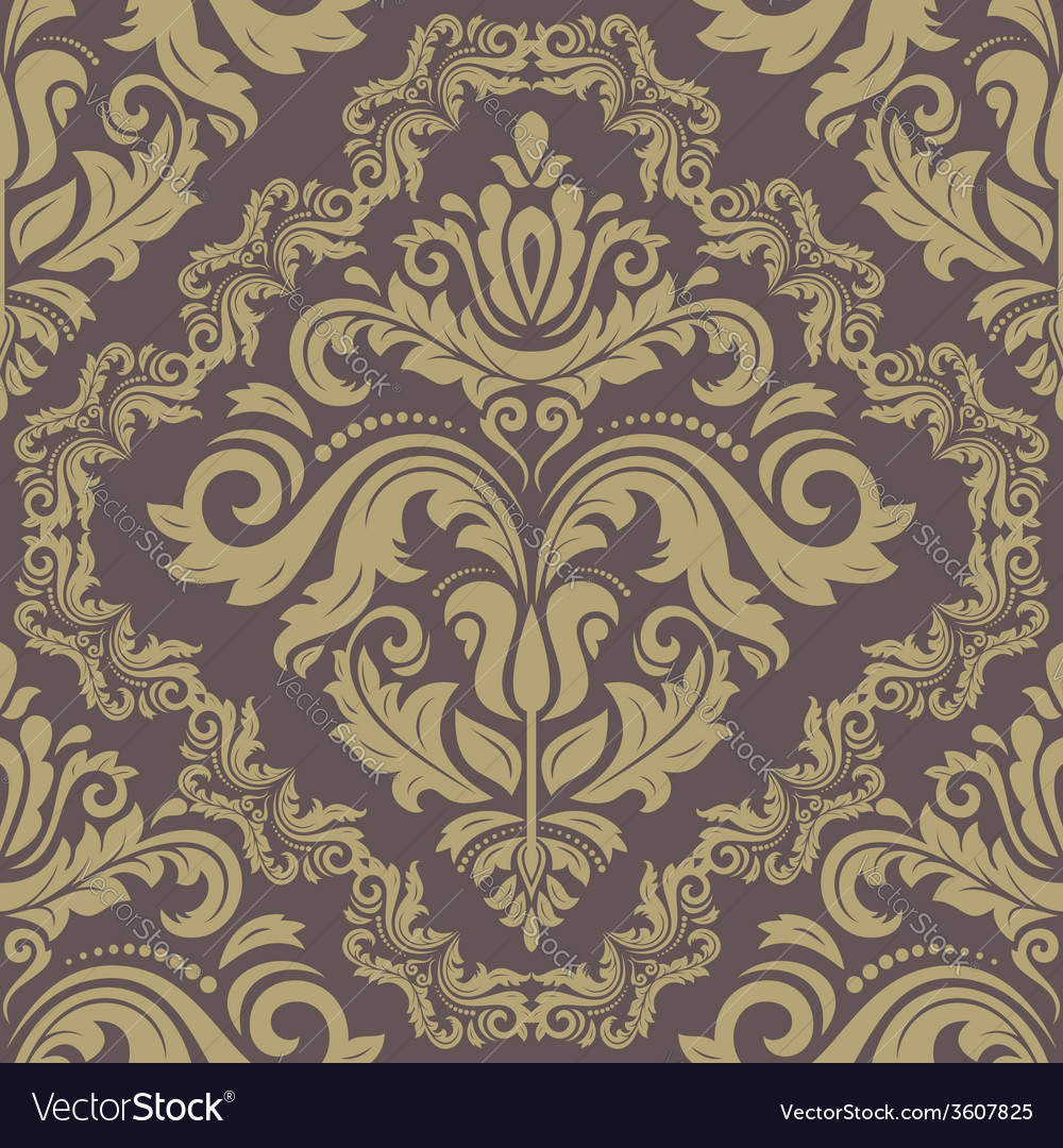 Damask seamless pattern orient golden background vector | Price: 1 Credit (USD $1)