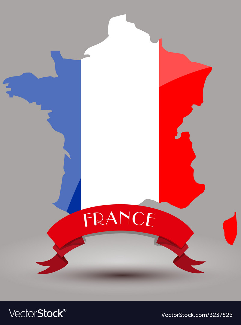 France flag map vector | Price: 1 Credit (USD $1)