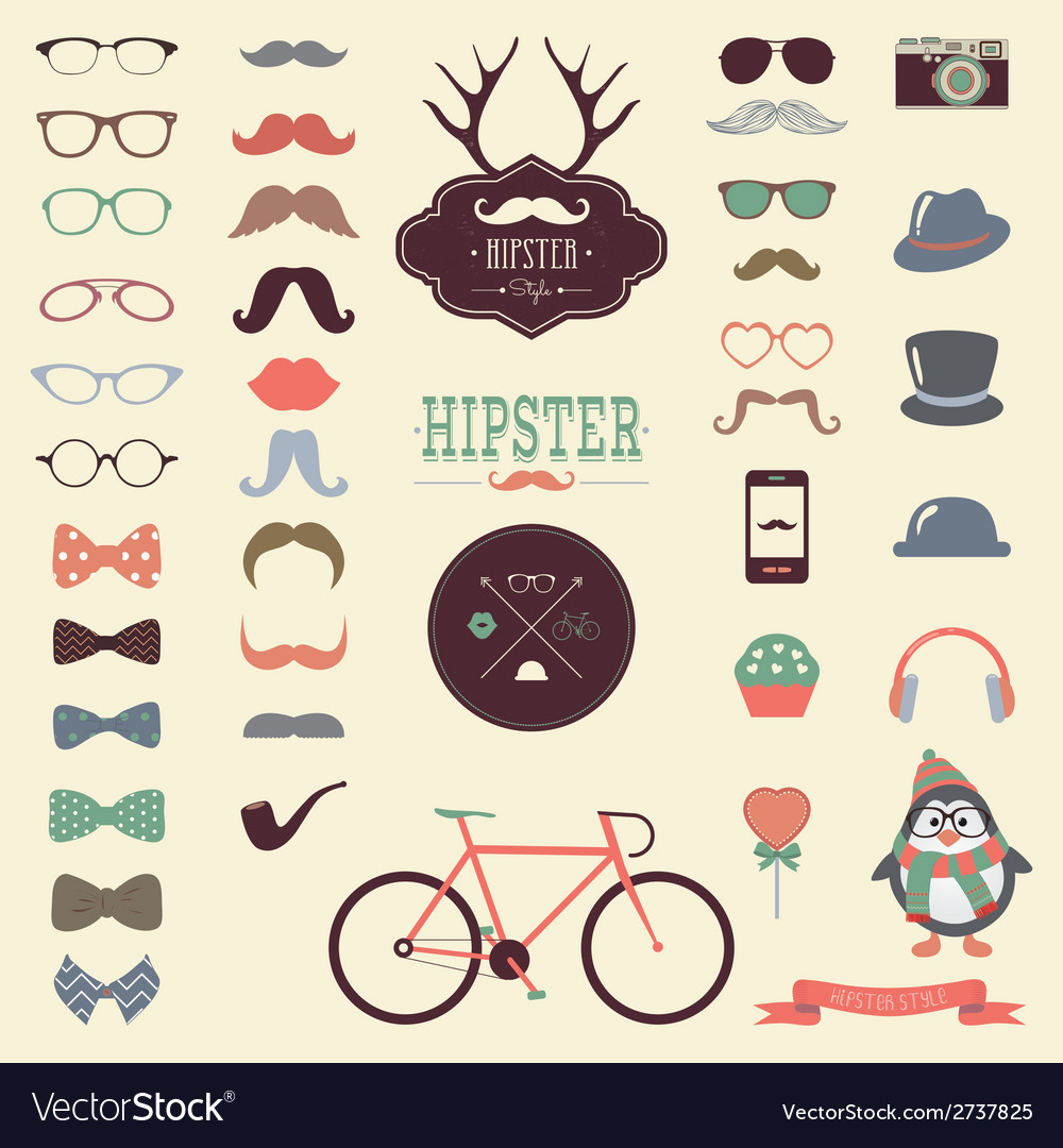 Hipster retro vintage icon set vector | Price: 1 Credit (USD $1)