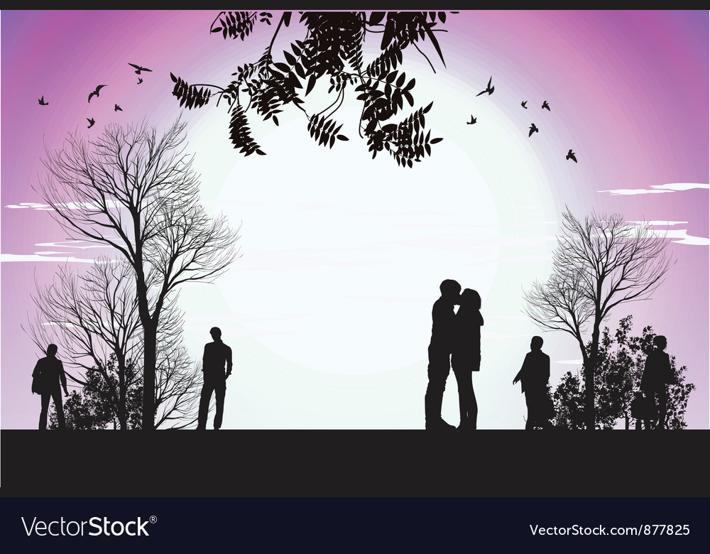 Husband and wife kiss in the park vector | Price: 3 Credit (USD $3)
