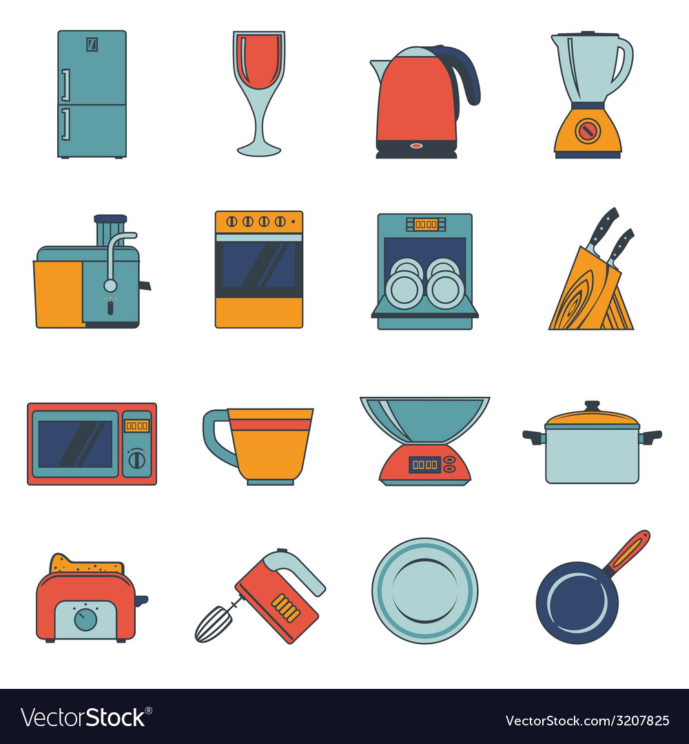 Kitchen appliances icons flat vector | Price: 1 Credit (USD $1)