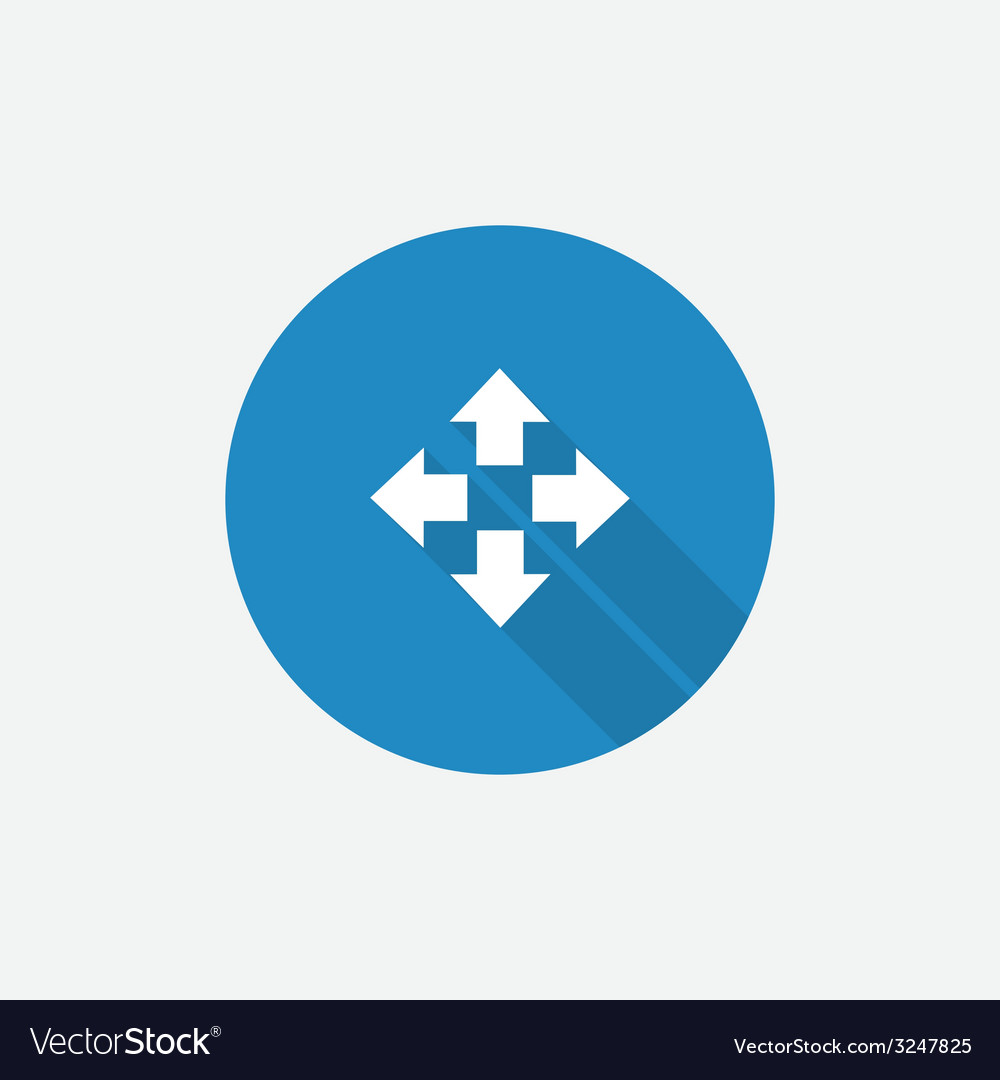 Move flat blue simple icon with long shadow vector | Price: 1 Credit (USD $1)