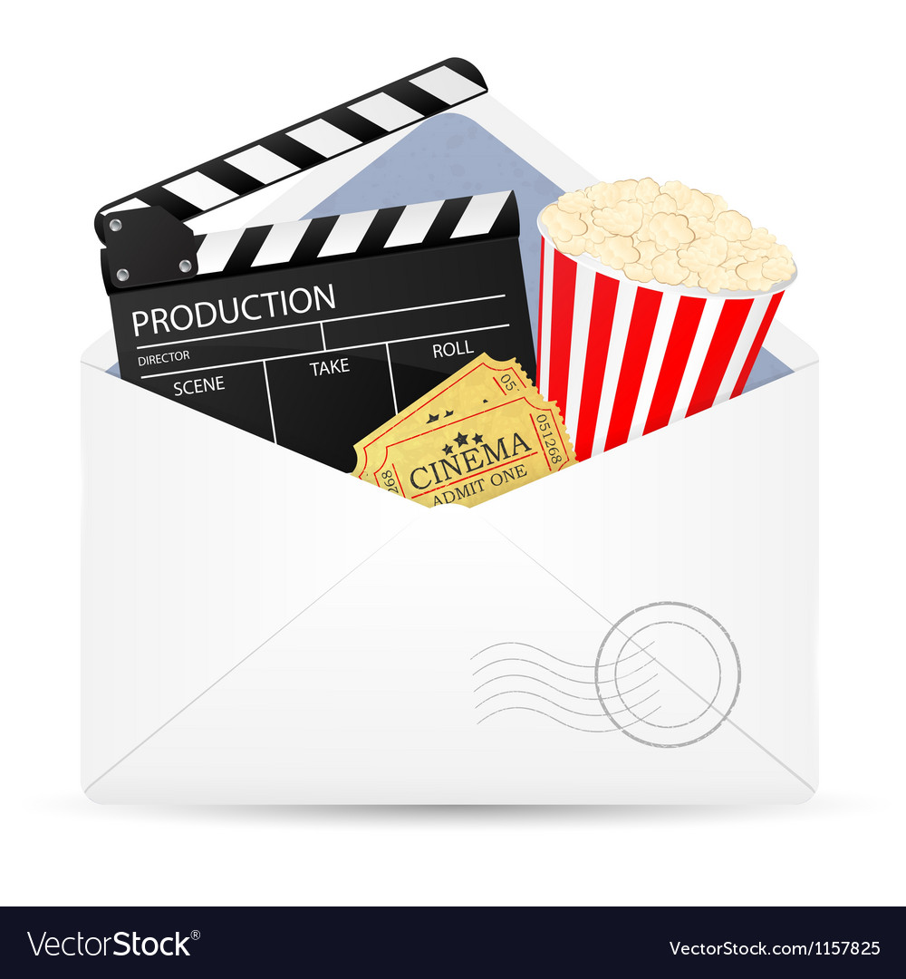 Open envelope with movie clapper board vector | Price: 1 Credit (USD $1)