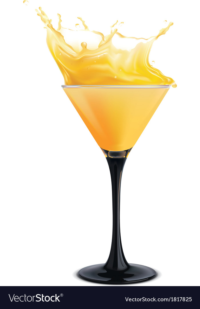 Orange cocktail with splashes vector | Price: 1 Credit (USD $1)