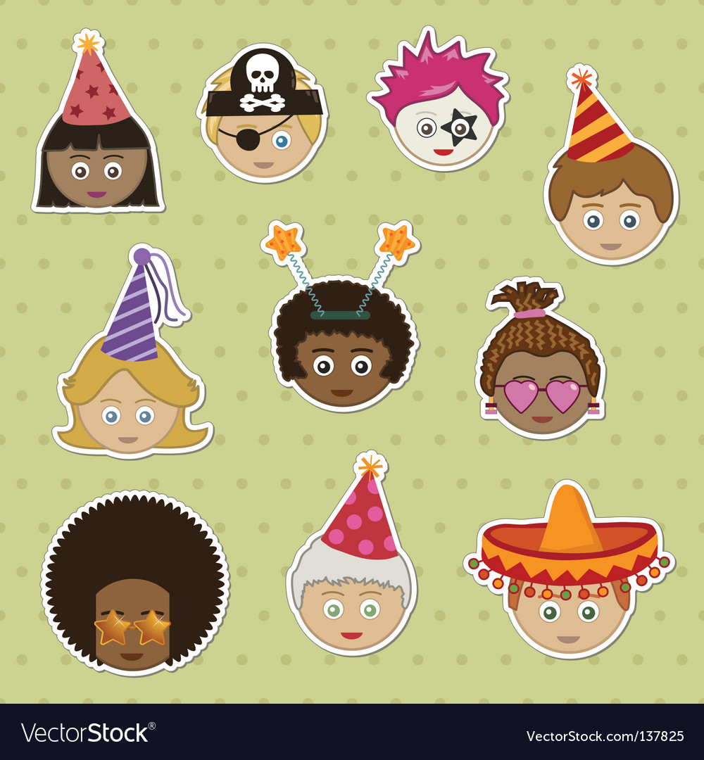 Party kids stickers vector | Price: 1 Credit (USD $1)