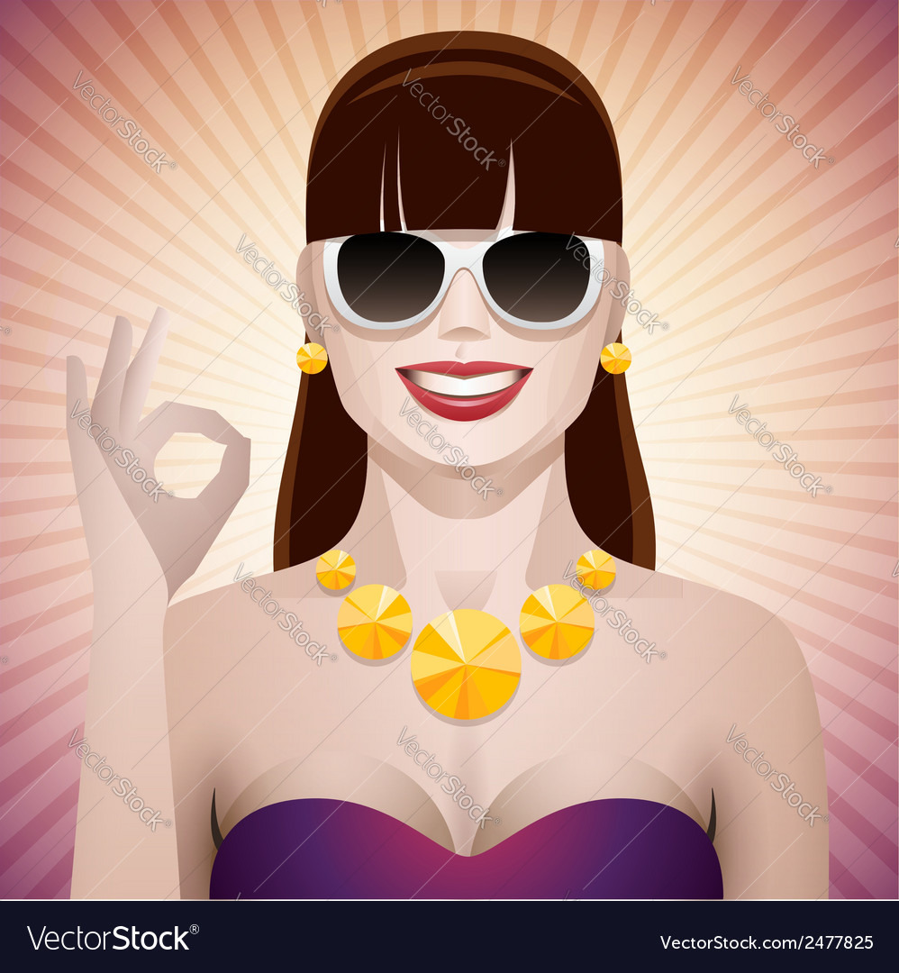 Pretty woman with sunglasses ok vector | Price: 1 Credit (USD $1)