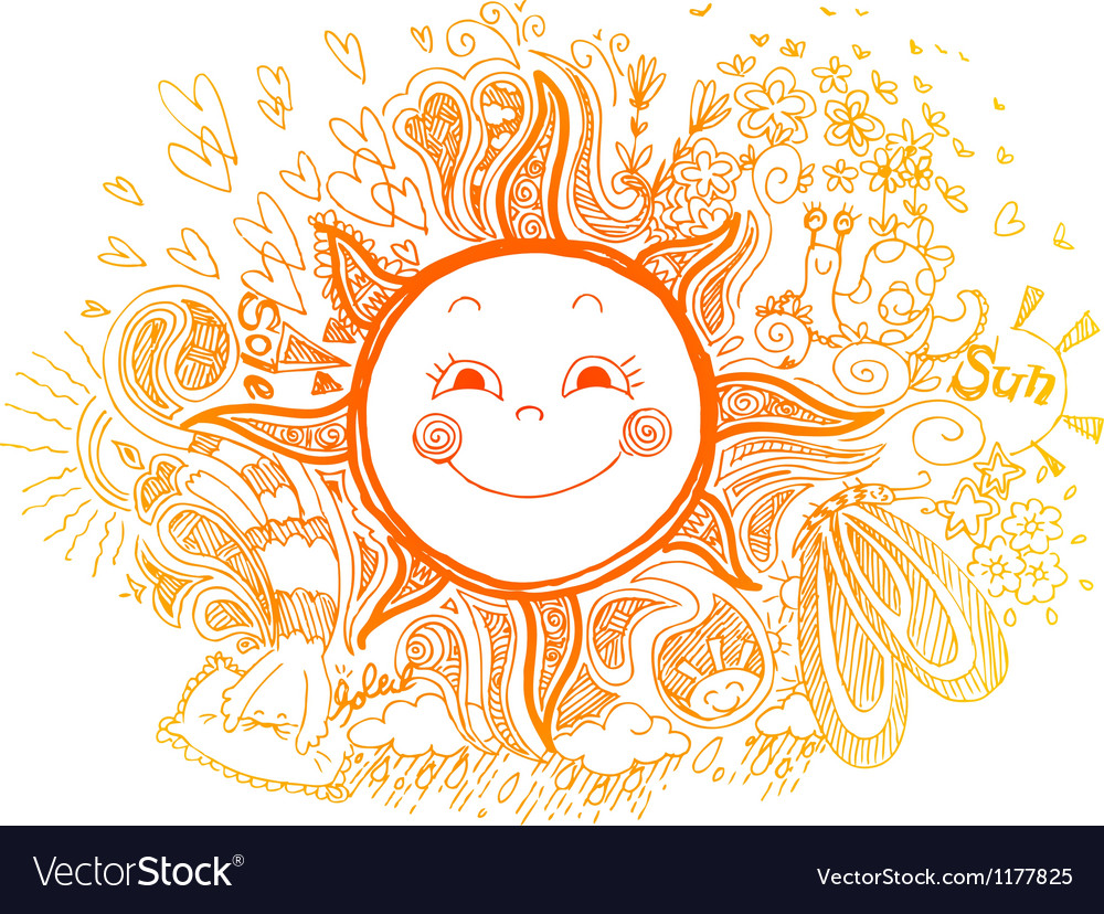 Sketchy doodle of orange sun vector | Price: 1 Credit (USD $1)
