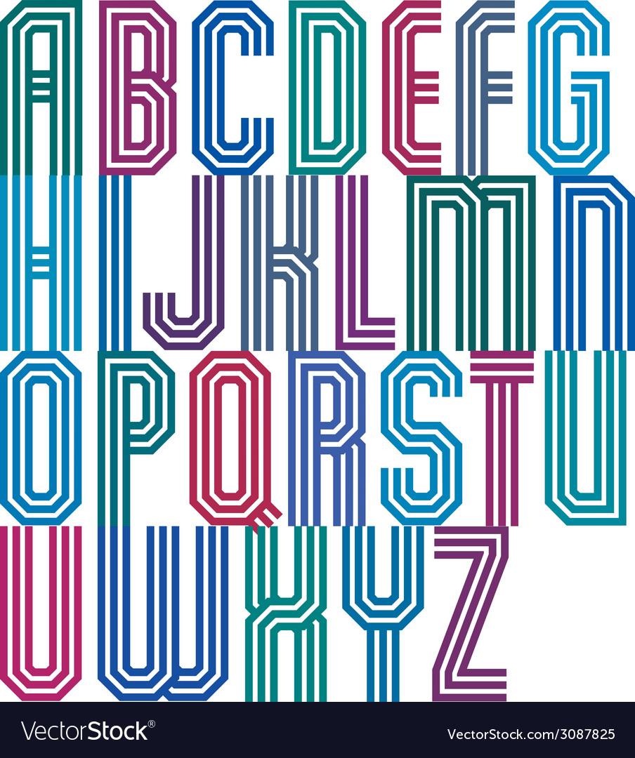 Triple stripe geometric font retro style typeface vector | Price: 1 Credit (USD $1)