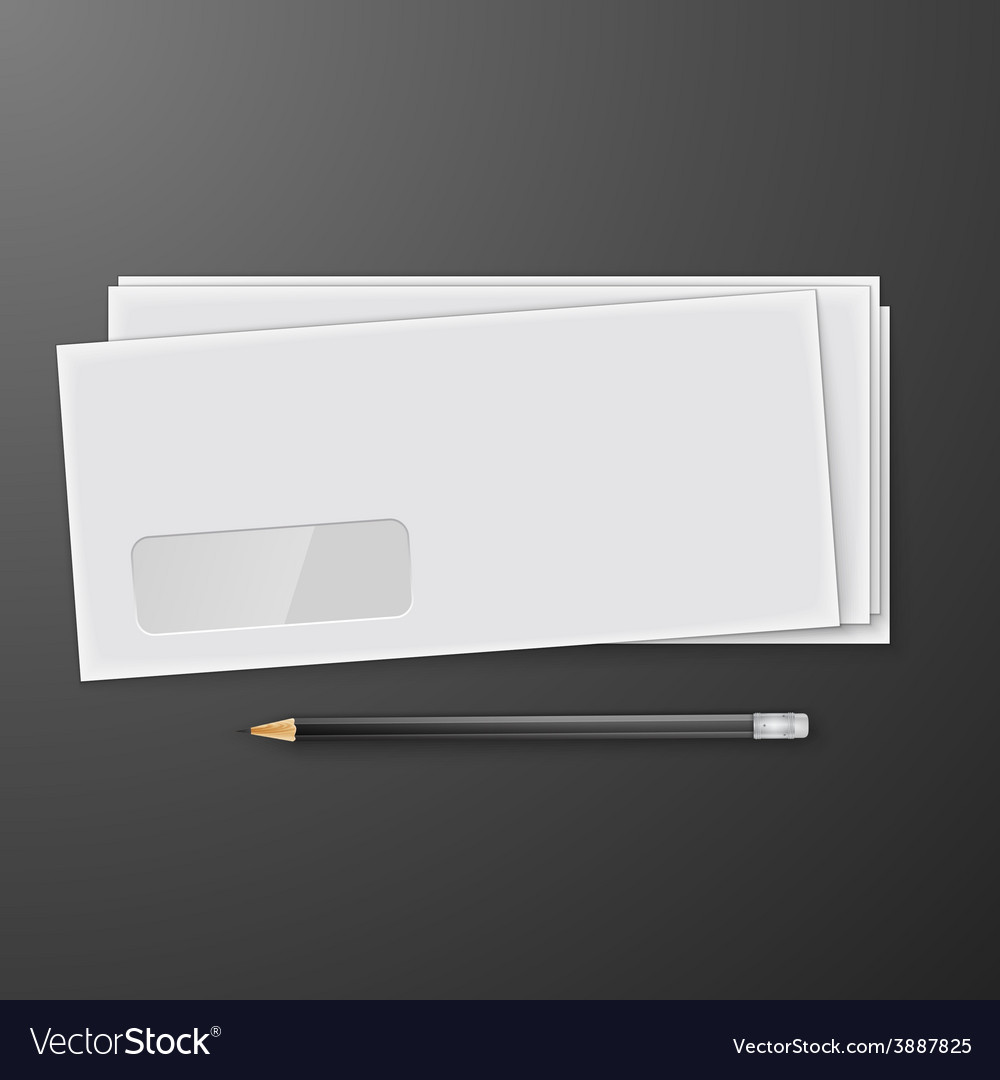 Two white envelopes with pencil vector | Price: 1 Credit (USD $1)
