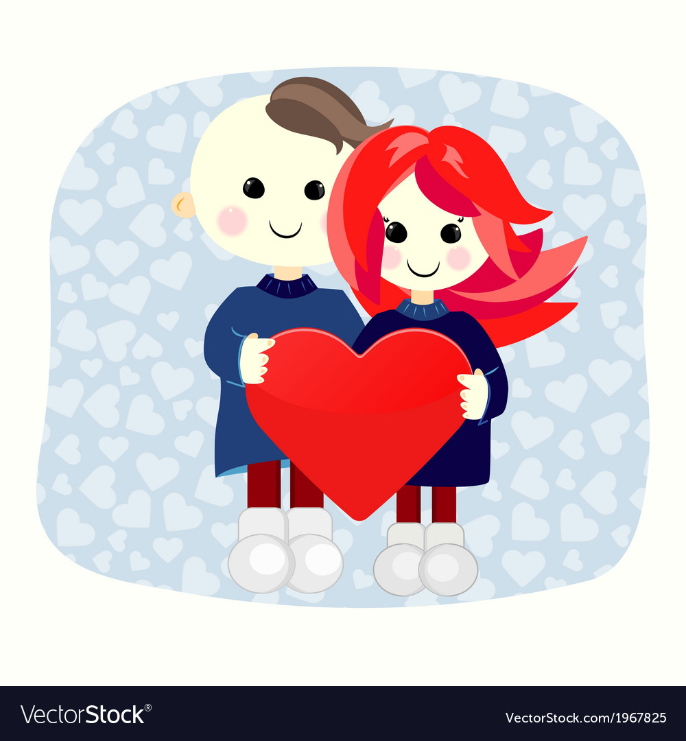 Valentine boy and girl with big heart vector | Price: 1 Credit (USD $1)