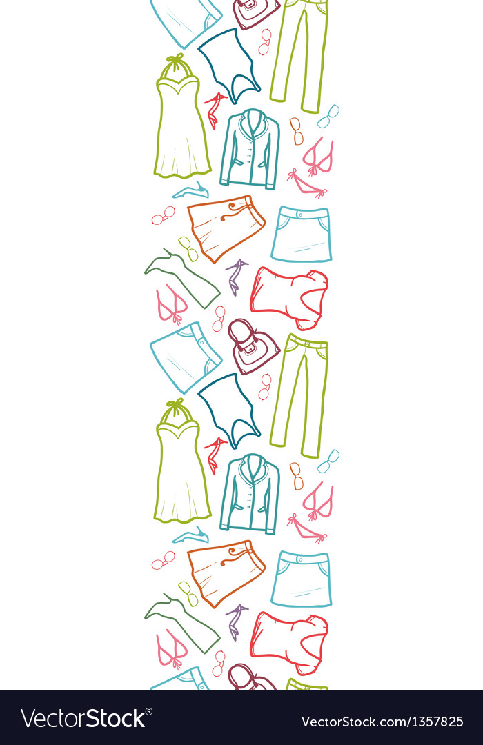 Wardrobe clothing vertical seamless pattern border vector | Price: 1 Credit (USD $1)