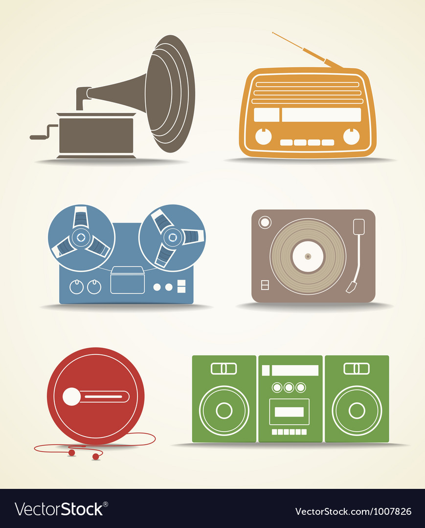 Digital and analogue music players icons vector | Price: 1 Credit (USD $1)