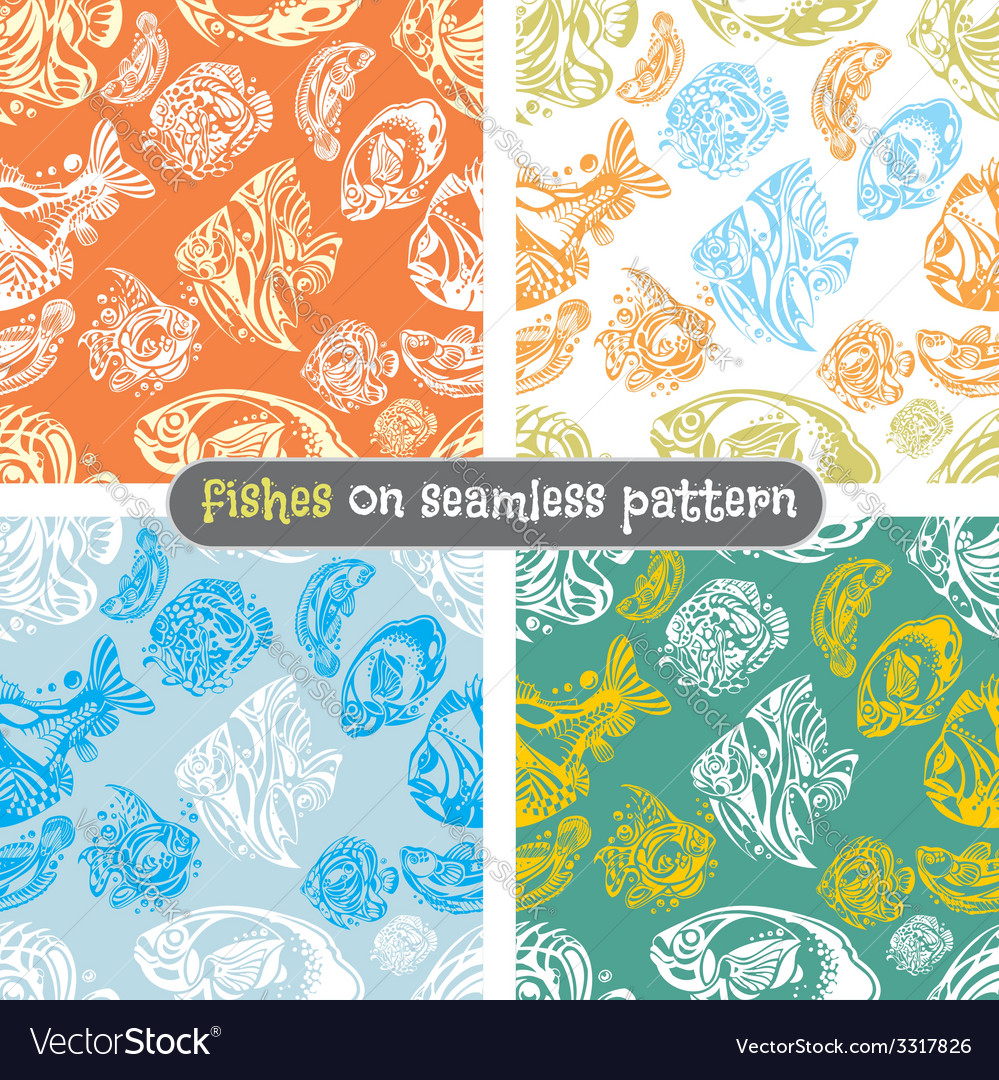 Fishes seamless pattern set - vector | Price: 1 Credit (USD $1)