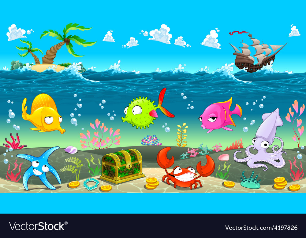Funny scene under the sea vector | Price: 3 Credit (USD $3)