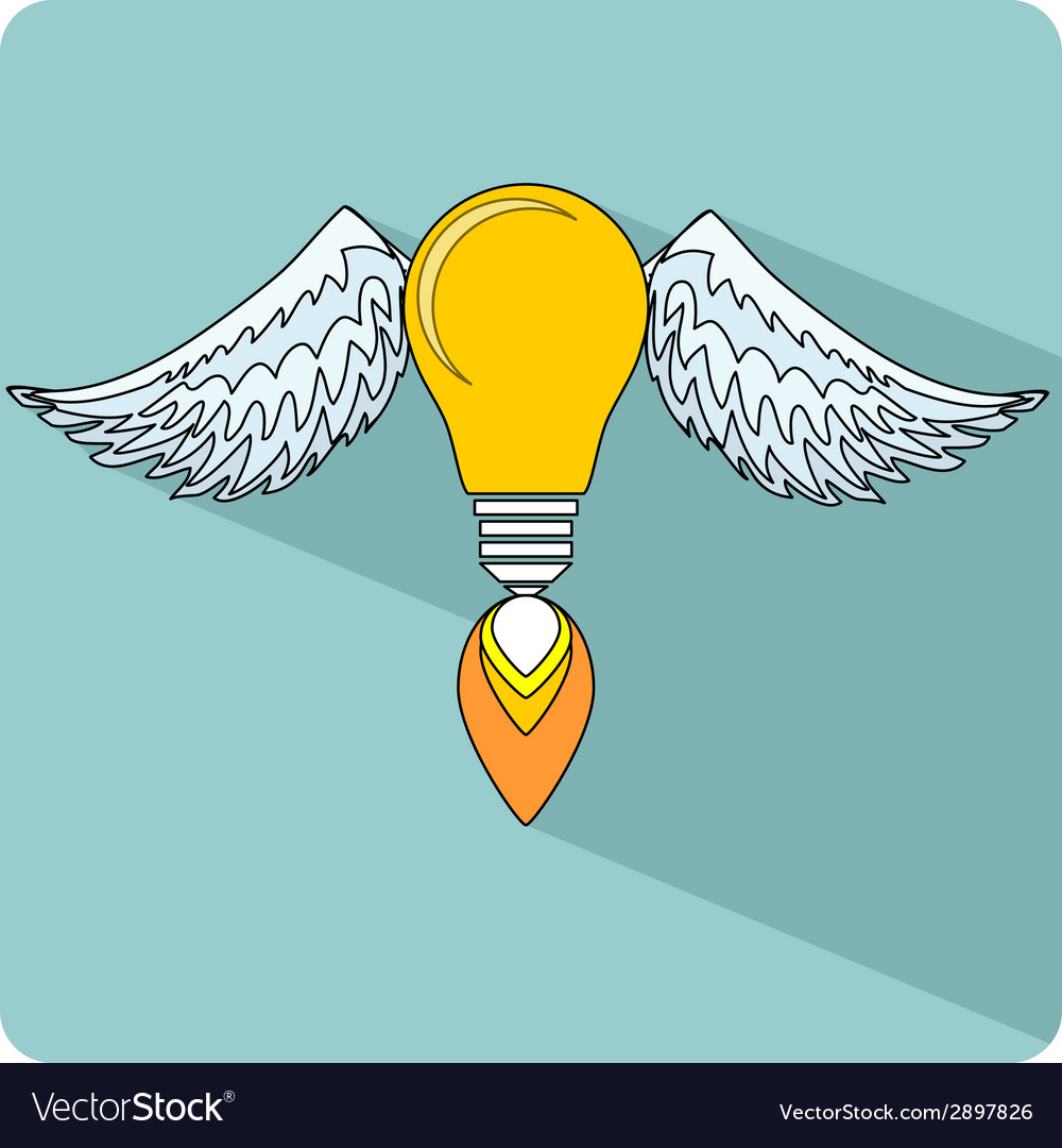 Light bulb with wings vector   Price: 1 Credit (USD $1)
