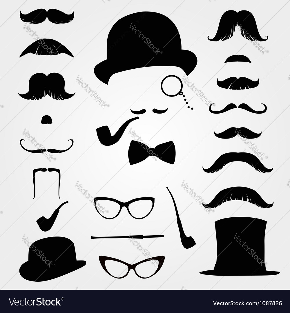 Mustaches and other retro accessories vector | Price: 1 Credit (USD $1)