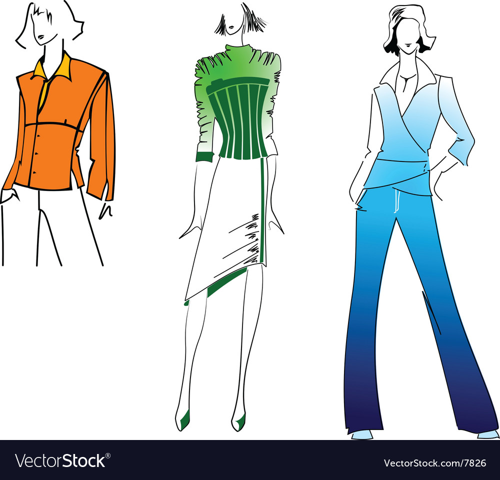 Orange green blue fashion girl vector | Price: 3 Credit (USD $3)