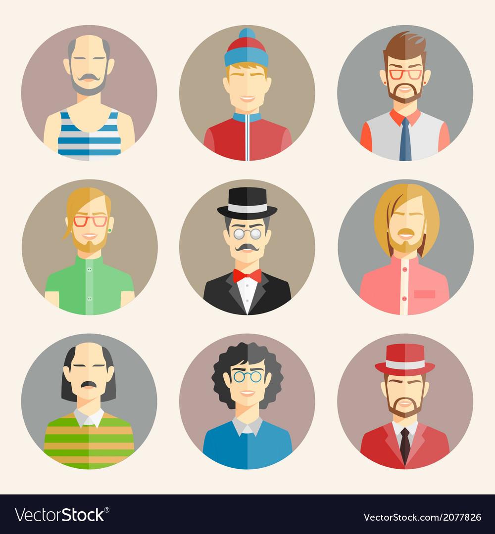 Set of nine male avatars vector   Price: 1 Credit (USD $1)