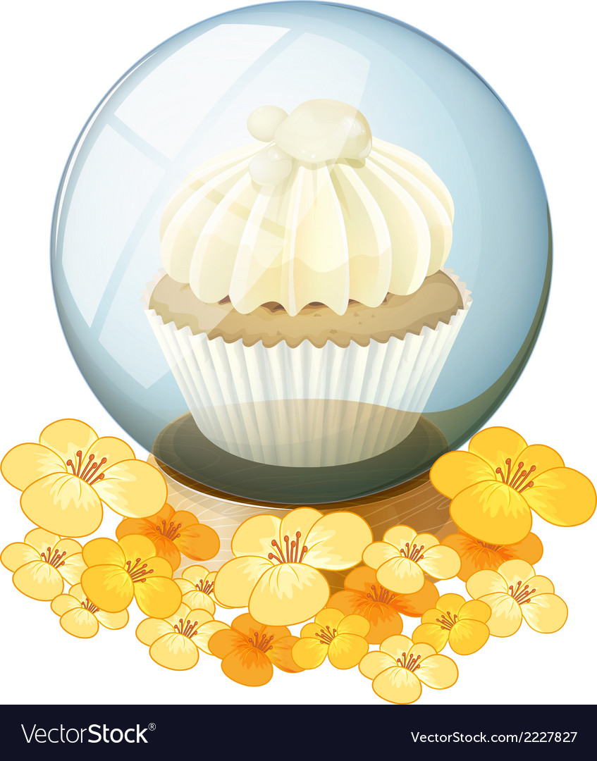 A crystal ball with a mocha-flavored cupcake vector | Price: 1 Credit (USD $1)