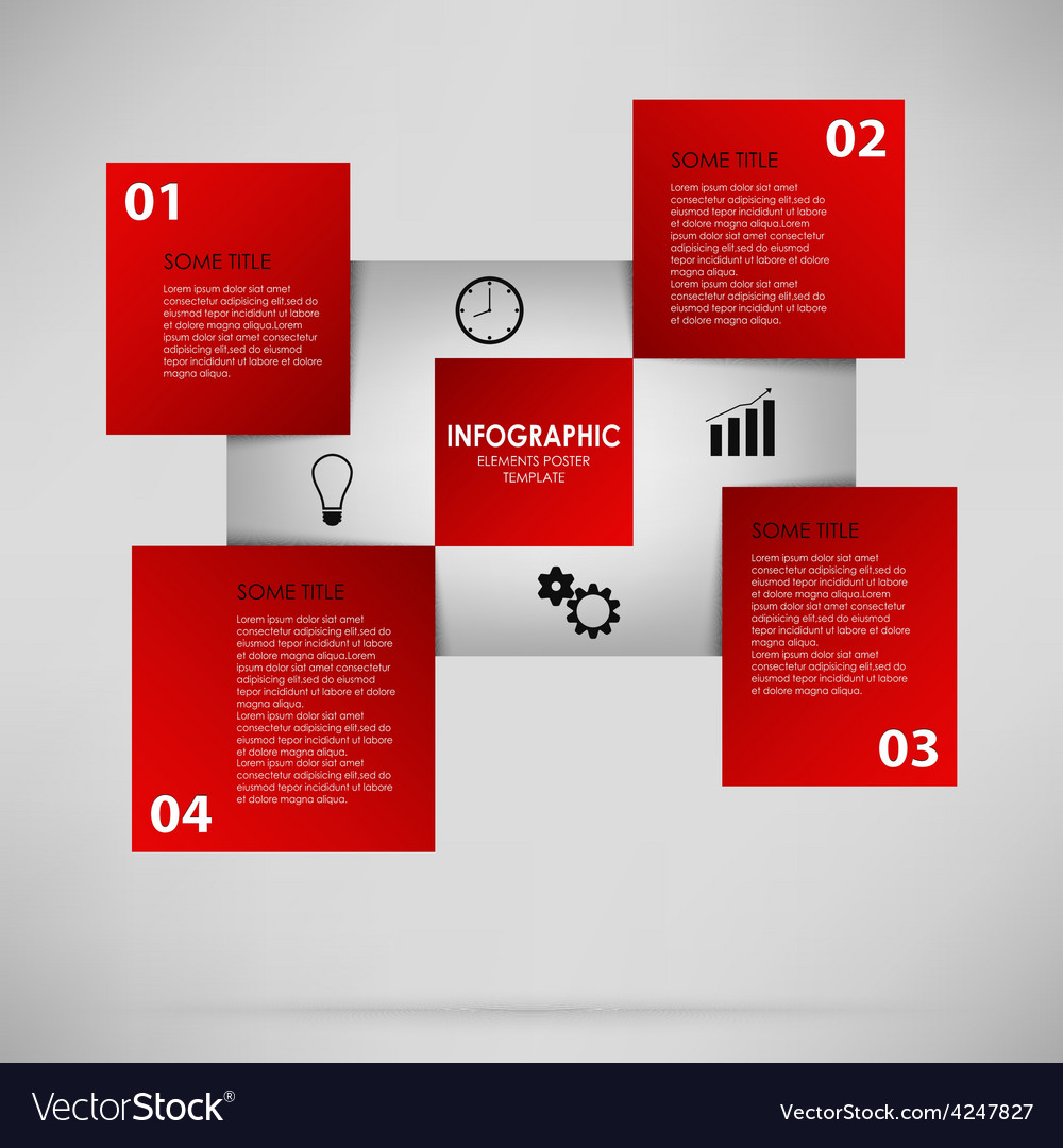Abstract info graphic with red squares vector | Price: 1 Credit (USD $1)