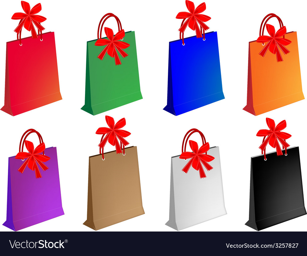 Colorful paper shopping bags with red bows vector | Price: 1 Credit (USD $1)