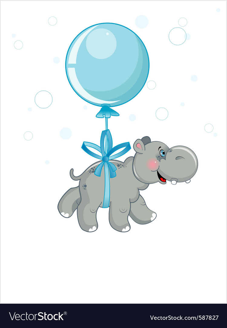 Grey hippo flying in a blue ball vector | Price: 3 Credit (USD $3)