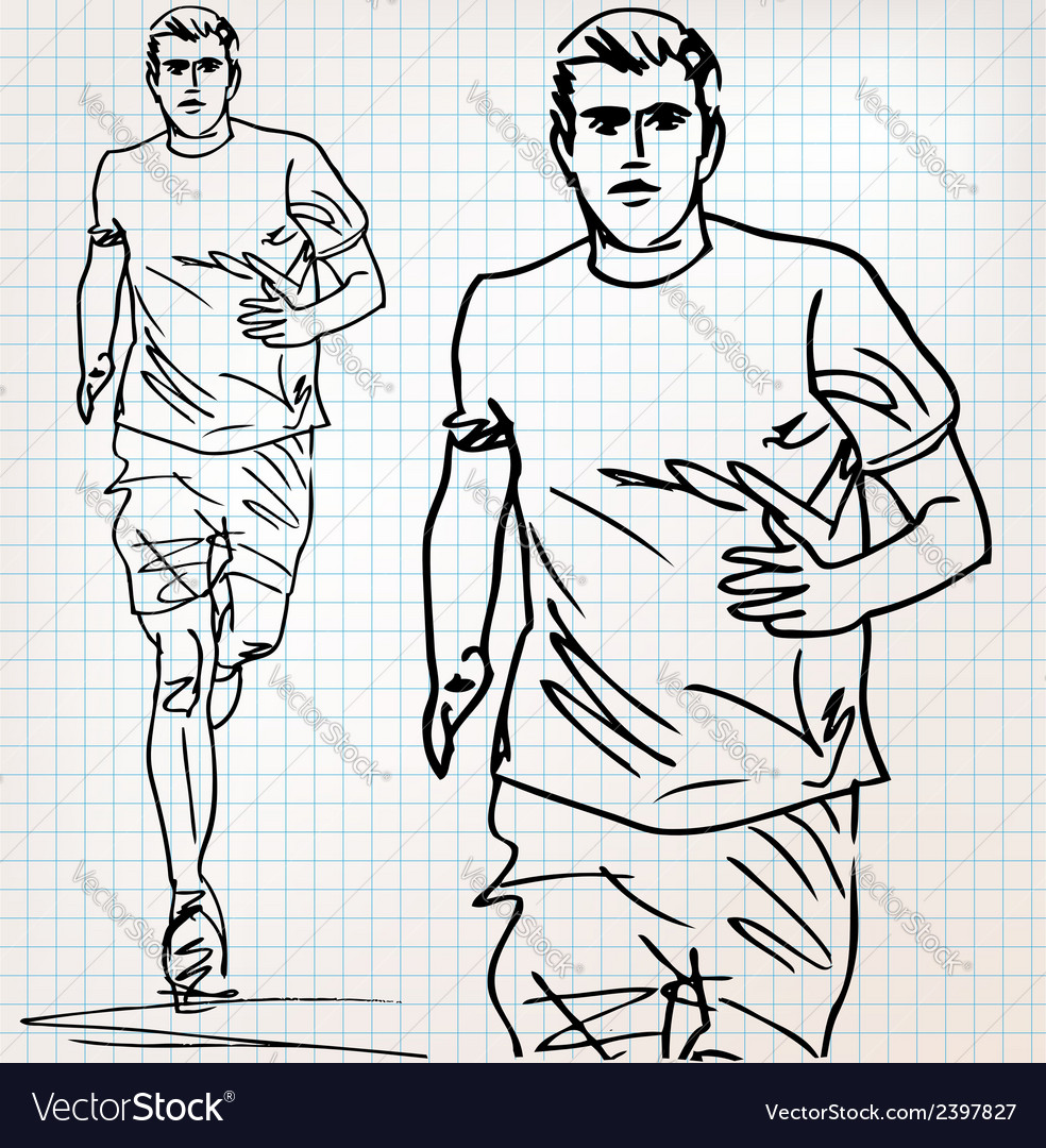 Male runner sketch vector | Price: 1 Credit (USD $1)