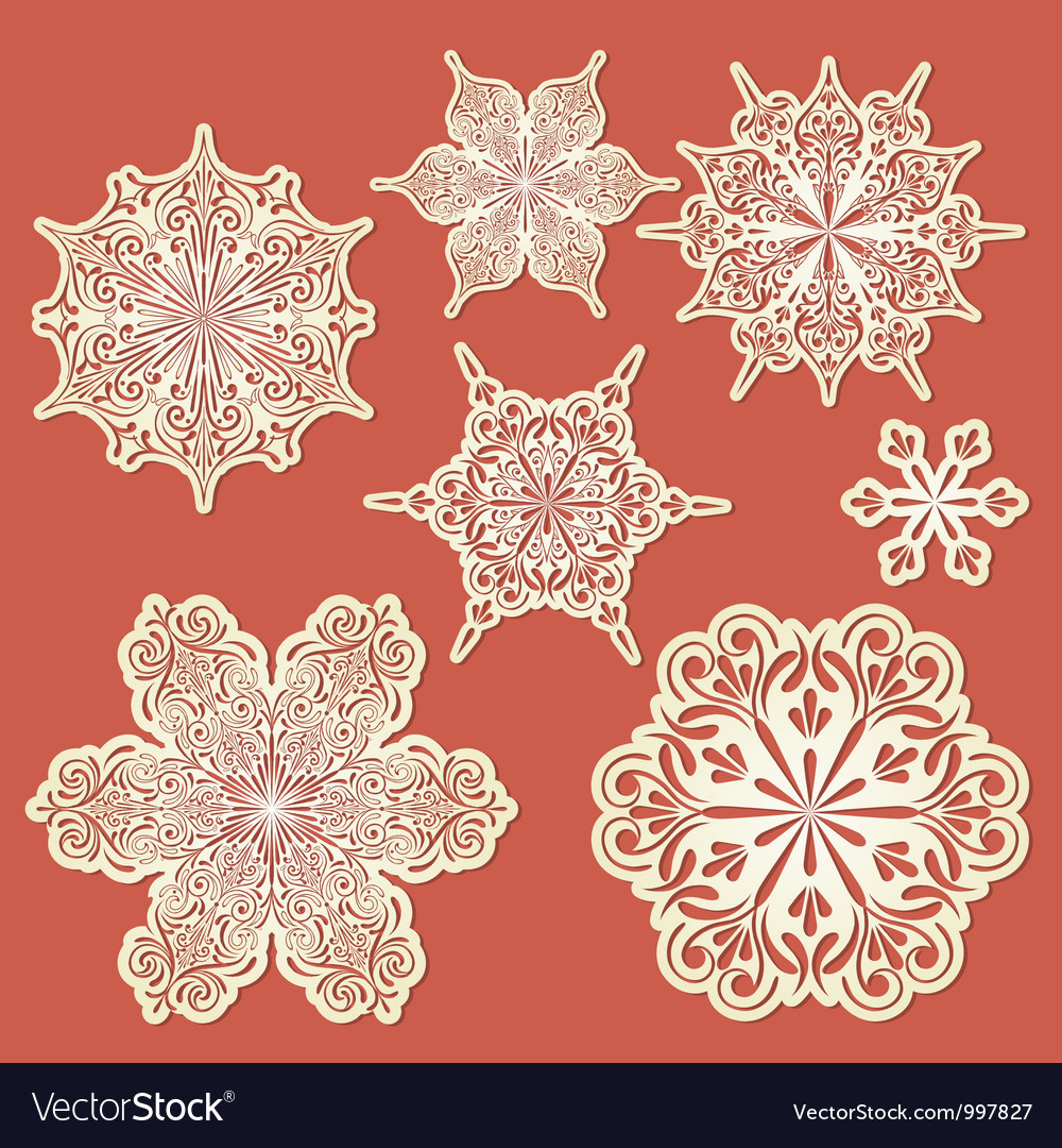 Paper cut golden snowflakes vector | Price: 1 Credit (USD $1)