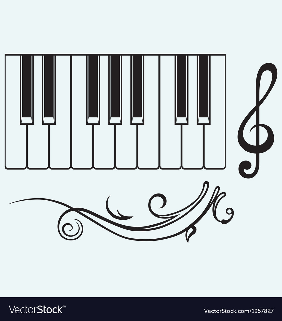 Piano and treble clef vector | Price: 1 Credit (USD $1)