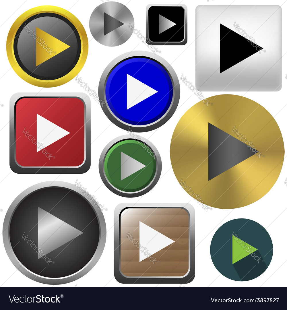 Play button set vector | Price: 1 Credit (USD $1)