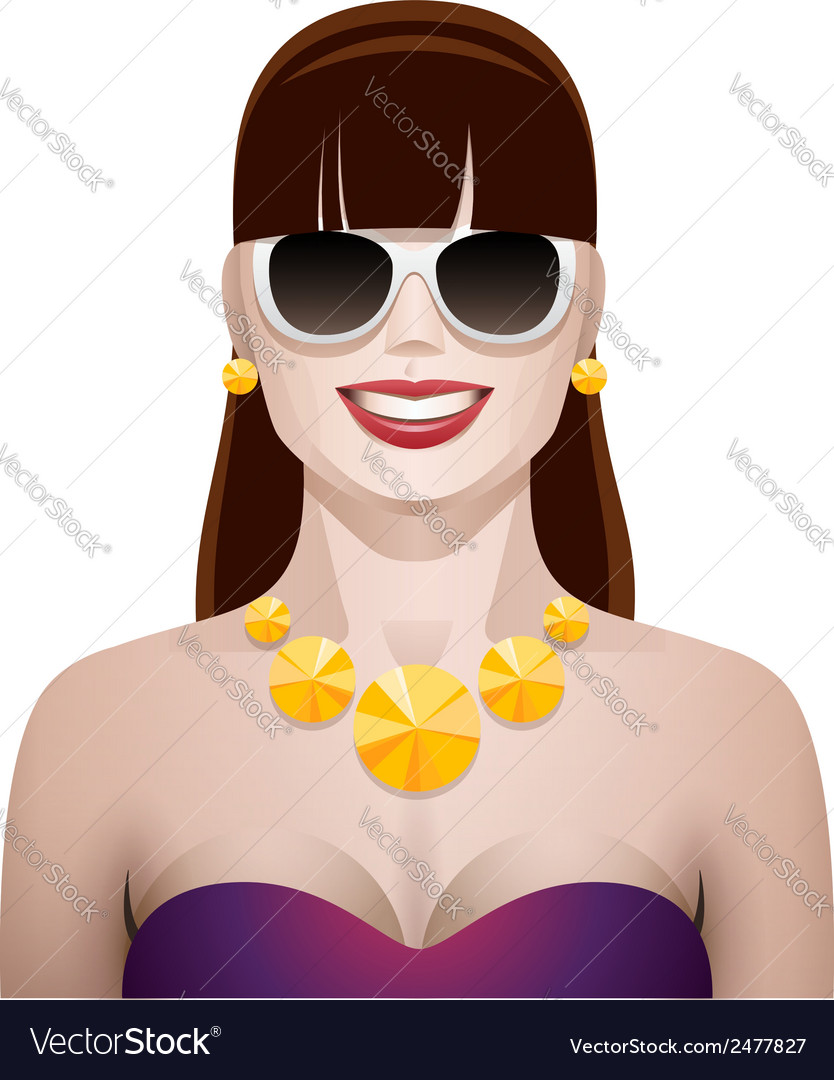 Pretty woman with sunglasses vector | Price: 1 Credit (USD $1)