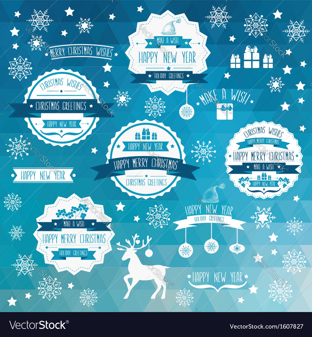 Set of creative christmas badges vector | Price: 1 Credit (USD $1)