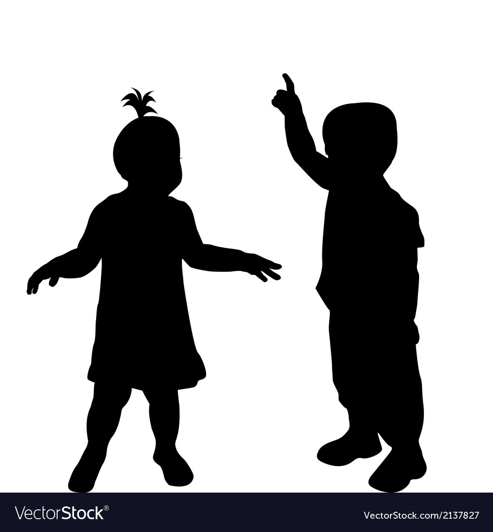 Two toddlers silhouettes vector