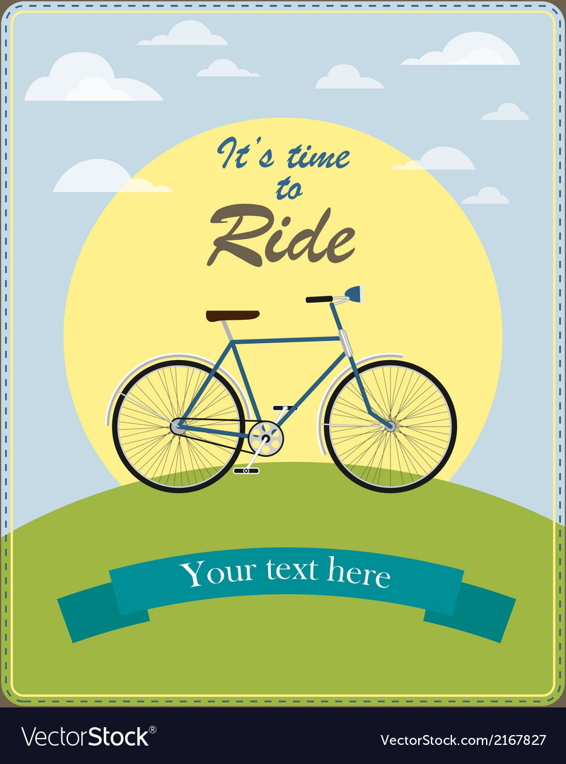 Vintage card a retro bicycle vector | Price: 1 Credit (USD $1)