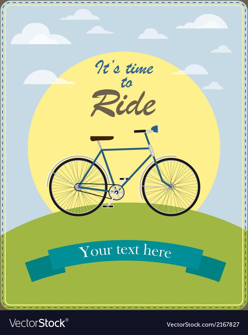 Vintage card a retro bicycle vector | Price: 1 Credit (USD $1)