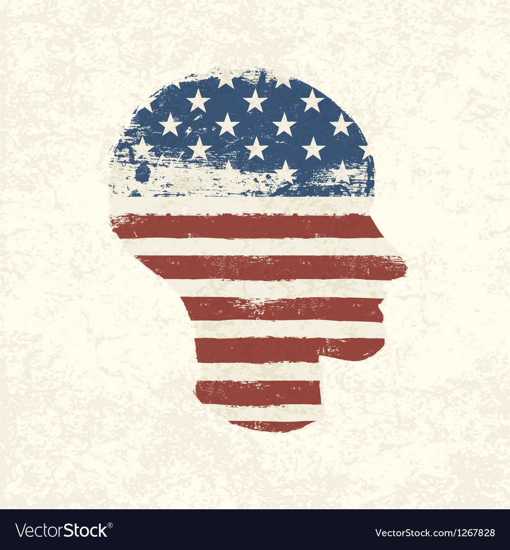 American flag head shaped vector | Price: 1 Credit (USD $1)