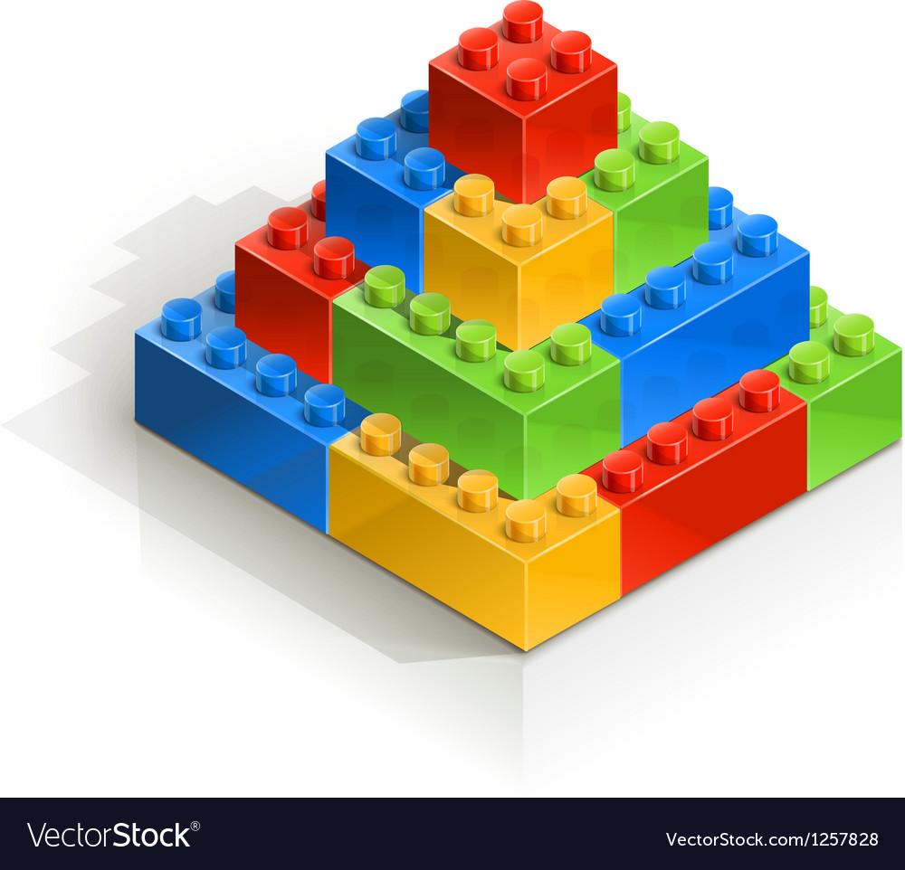 Brick piramid meccano toy vector | Price: 1 Credit (USD $1)