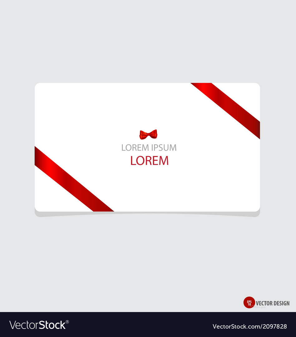 Cards with red gift bows and red ribbons vector | Price: 1 Credit (USD $1)