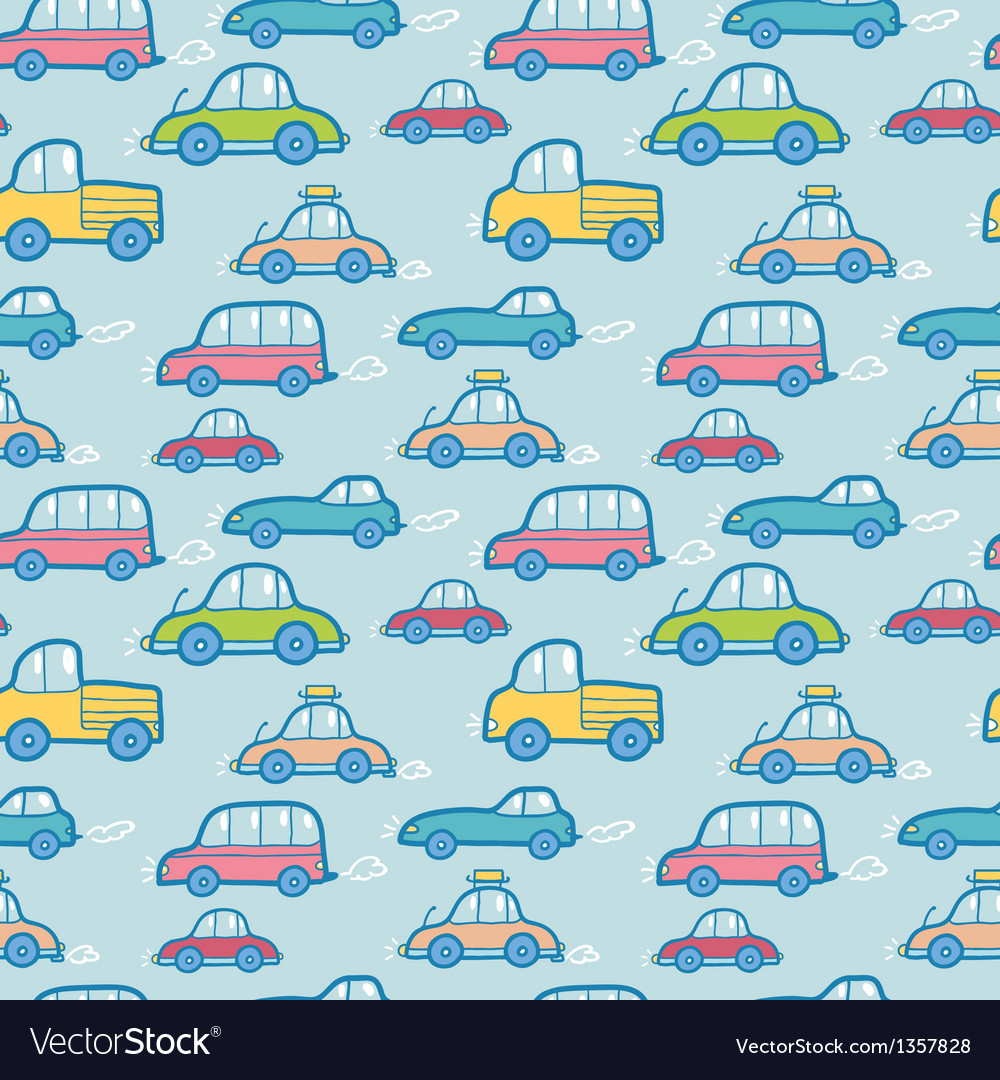 Colorful cartoon cars seamless pattern background vector | Price: 1 Credit (USD $1)