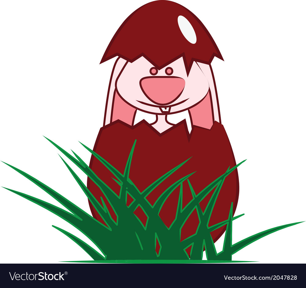 Easter bunny popping out of egg vector | Price: 1 Credit (USD $1)