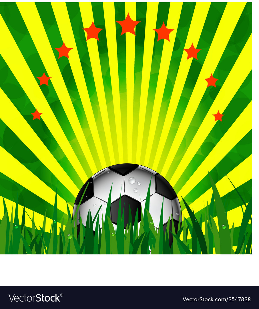 Football card in brazil flag colors soccer ball vector | Price: 1 Credit (USD $1)