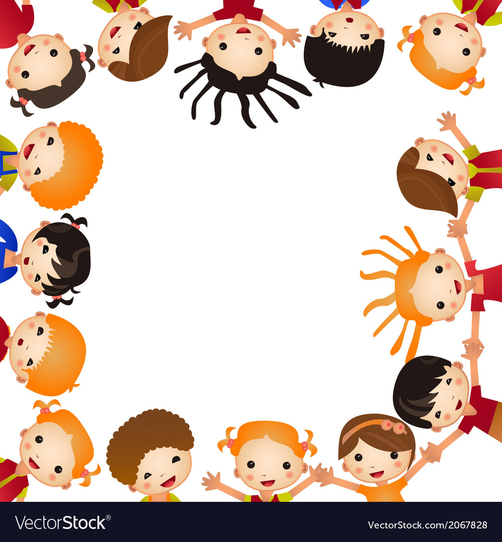 Fun kids frame many of children hold blank vector | Price: 1 Credit (USD $1)