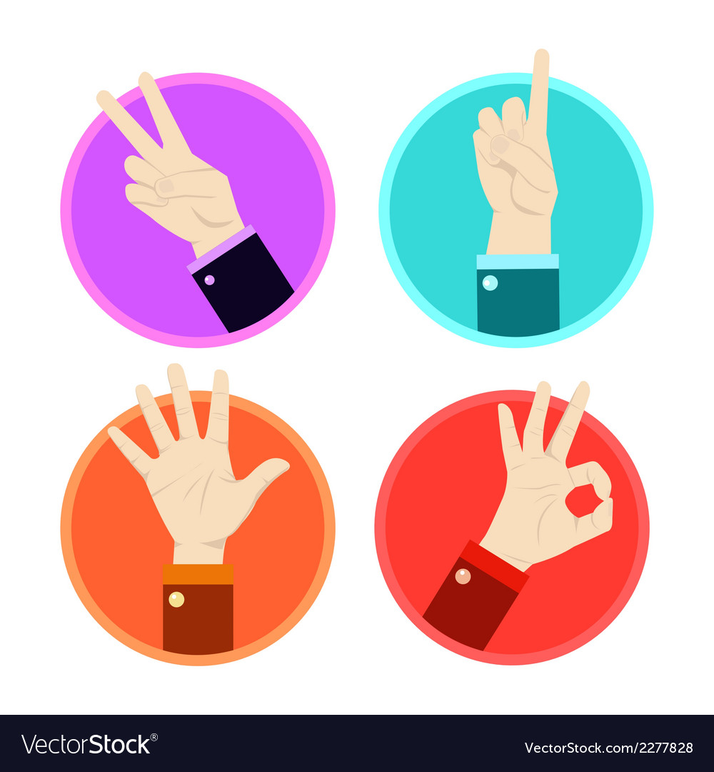 Hand gesture icons set vector | Price: 1 Credit (USD $1)