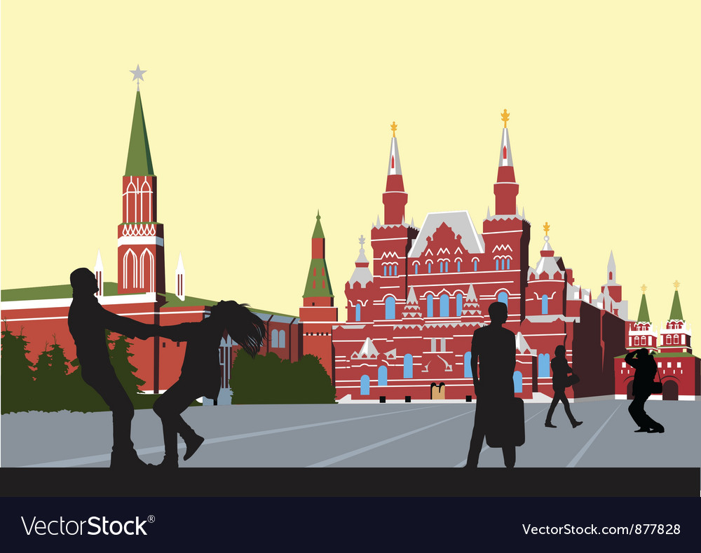 Husband and wife on the red square circling hand vector | Price: 3 Credit (USD $3)