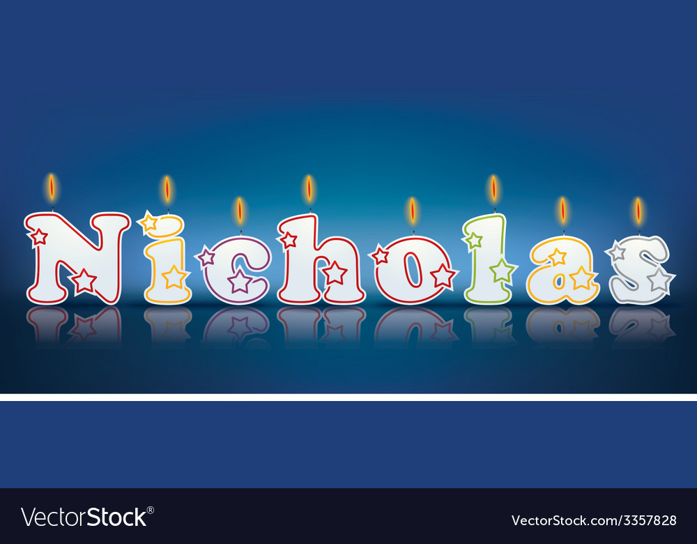 Nicholas written with burning candles vector | Price: 1 Credit (USD $1)