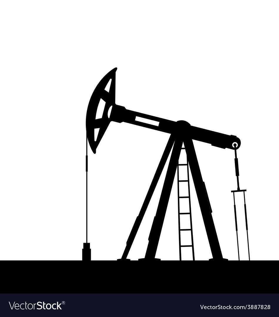 Oil pump jack for petroleum isolated on white vector | Price: 1 Credit (USD $1)