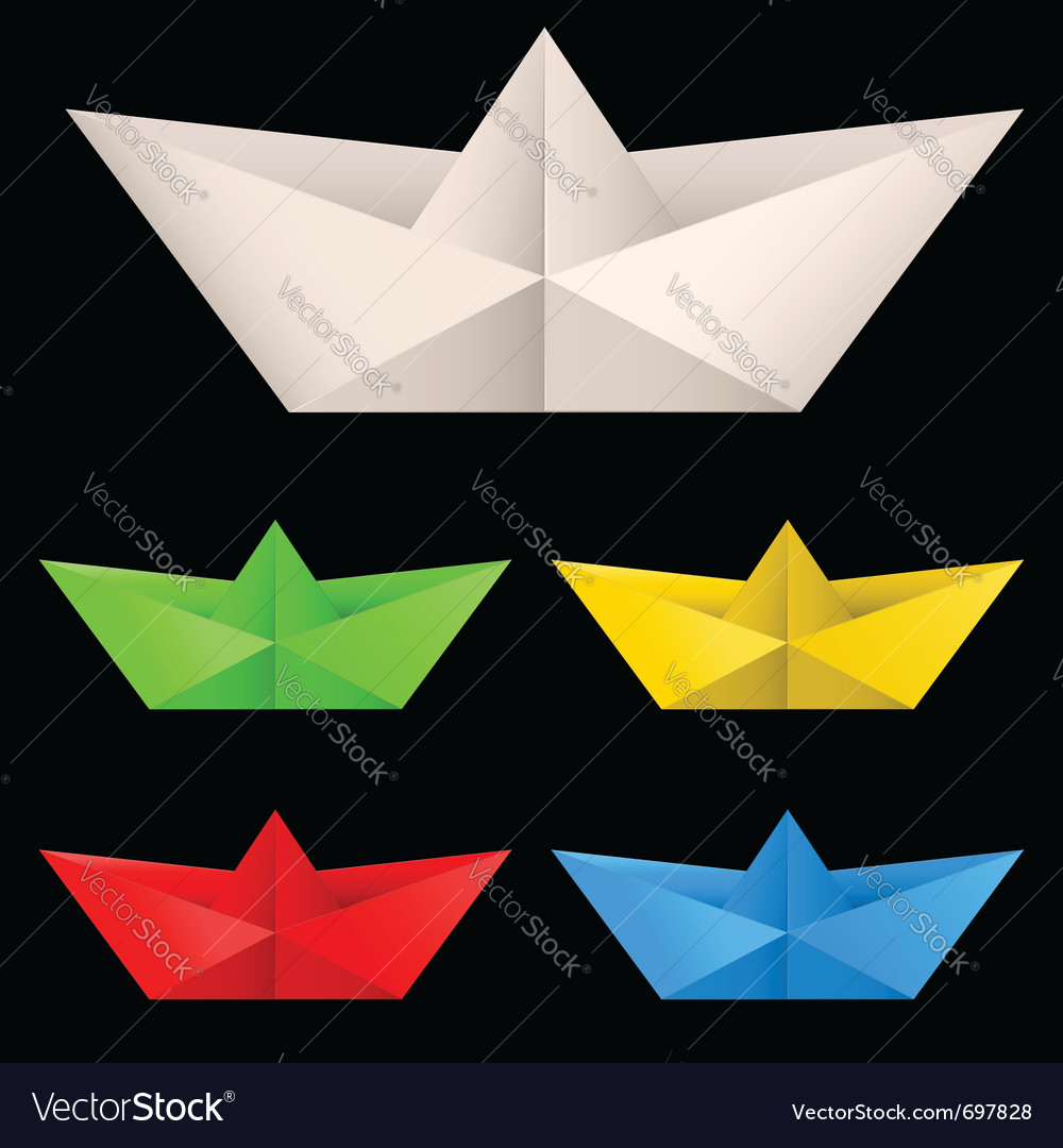 Paper ships isolated on black background for vector | Price: 1 Credit (USD $1)