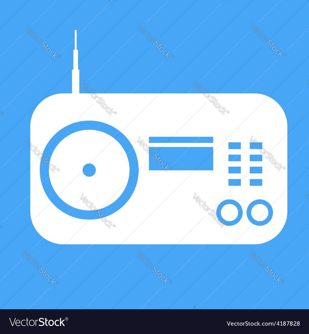 Radio icon on blue background vector | Price: 1 Credit (USD $1)