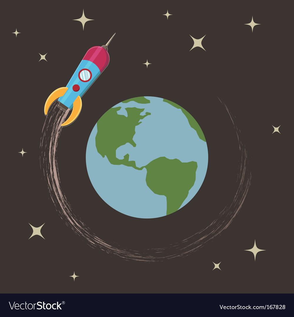 Rocket in orbit vector | Price: 1 Credit (USD $1)