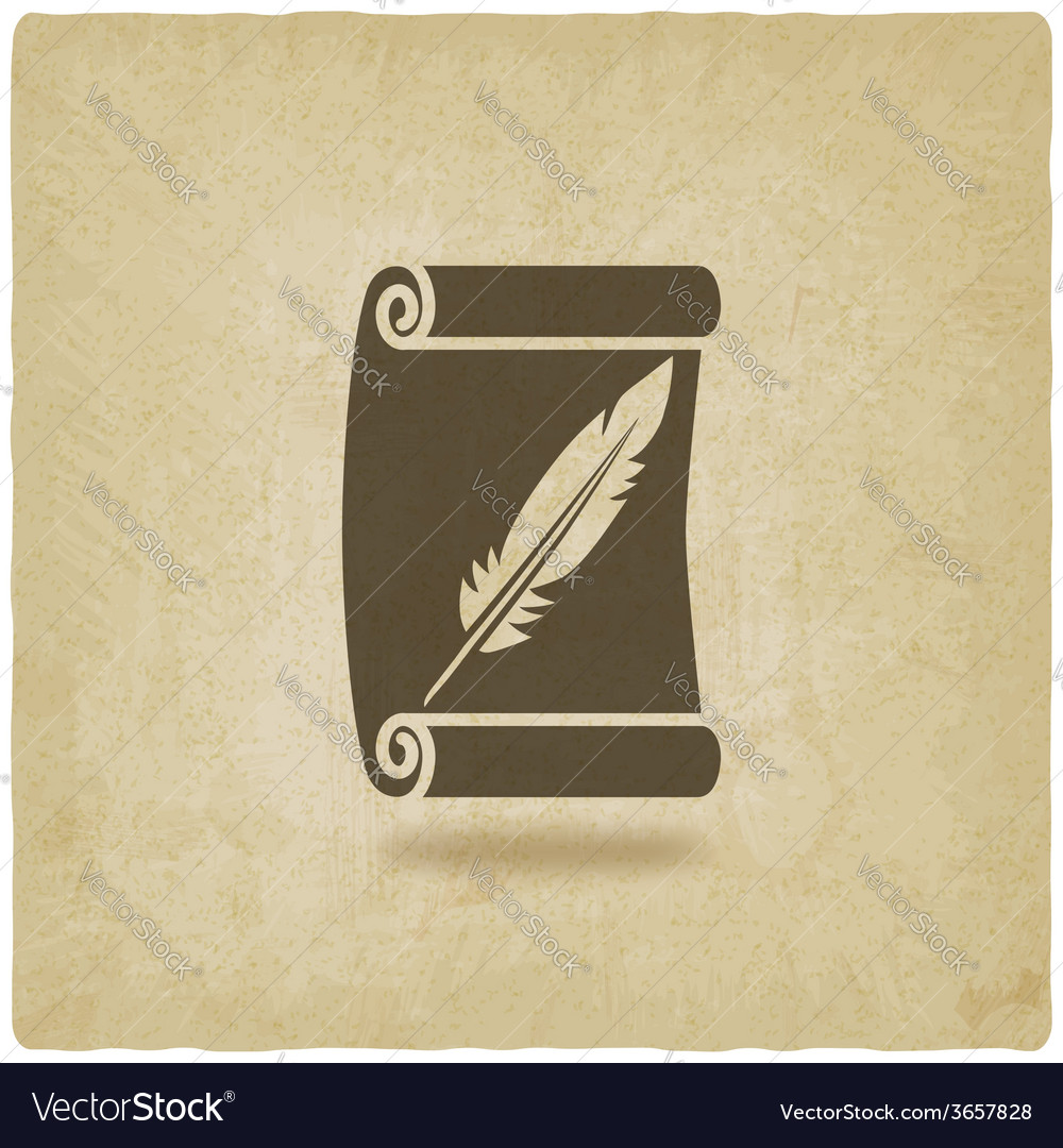 Scroll and feather writing symbol old background vector | Price: 1 Credit (USD $1)